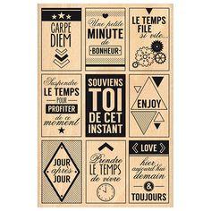Mille étiquettes - Tampon bois - Minute de bonheur - 10 x 15 cm
