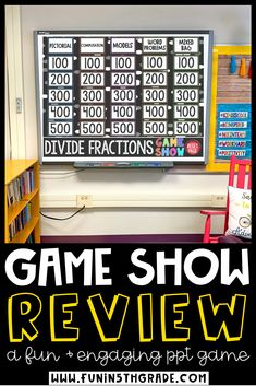 Divide Fractions Game Show is a fun way to teach and learn this math skill. Students will enjoy this engaging game that lets students practice dividing fractions with word problems and visuals! Perfect for math centers, math stations Fun Math Games, Number Games, Vocabulary Games, Class Games, Measurement Games, Fraction Games, Fraction Activities, Math Websites, School