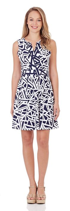 1d94568dd34 Julie Fit   Flare Dress in Abstract Geo Navy- FINAL SALE