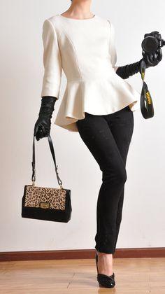White Virgin Wool 3/4 Sleeves Peplum Flared Hem Winter Victotrian Lady Suit Top