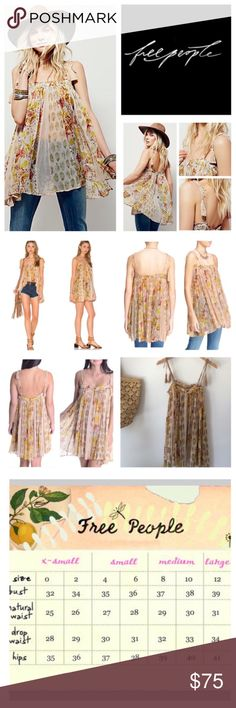 "🆕Free People Secret Love Floral Swing Tunic. NWOT 🆕Free People Secret Love Floral Swing Trapeze Tunic, 100% viscose, machine washable, 28"" all around elastic armpit to armpit which stretches up to 35"", 30"" length, tassel tie straps and adjustable spaghetti straps suspend the swingy silhouette floral chiffon tunic, elastic square smocked neckline with keyhole/button closure, wide side slits adds extra look to the billowy look, semi-sheer, measurements are approx.  New without tag, never…"