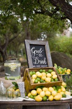 lemon wedding drink bar / http://www.deerpearlflowers.com/fruit-wedding-ideas/3/
