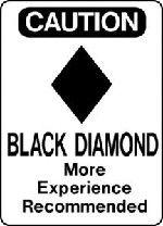 Ski Snowboard Sign CAUTION BLACK DIAMOND warning run slope aluminum sign