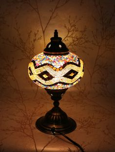 Multicolour Turkish Moroccan Style Mosaic Table Lamp Lampshade 17cm Large Globe