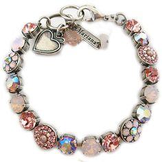 "Mariana Silver Plated Flower Shapes Swarovski Crystal Bracelet, 7.25"""" Pink AB 4044 223"