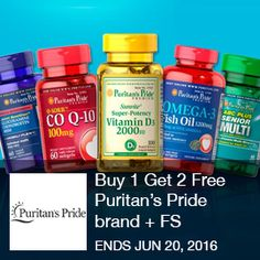 Buy 1 Get 2 Free Puritan's Pride brand + Free Shipping! See Details. No Code Necessary. Ends 6/20 11:59 PM PST. Brought to you by http://www.imin.com and http://www.imin.com/store-coupons/puritans-pride/