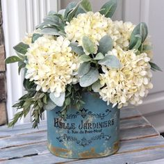 Farmhouse Decor~ Hydrangea Centerpiece~All Year Round Arrangement~Hydrangeas and Lambs Ear in a Blue Metal Pail Farmhouse Tabletop, Farmhouse Decor, Modern Farmhouse, Farmhouse Style, Farmhouse Ideas, Vintage Farmhouse, Deco Floral, Floral Design, Silk Flowers