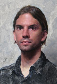Anthony Ryder (b. 1957), oil on canvas, 2010 {figurative art male head man face portrait painting} tonyryder.com