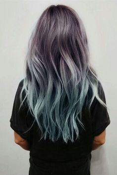 Balayage and Ombre are everyone's favorite. Add in the pastel hair colors. and you have delicate and beautiful hair mixes. Ombre Hair Color, Purple Hair, Blue Ombre, Turquoise Hair, Pastel Purple, Purple Dye, Teal Orange, Pink Yellow, Silver Blue Hair