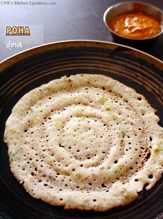 Poha (atukulu) dosa --- South Indian dosa or pancakes made using rice flakes and… Healthy Indian Snacks, Indian Food Recipes, Vegetarian Recipes, Breakfast Recipes, Snack Recipes, Cooking Recipes, Veg Recipes, Poha Recipe, Rice Flakes