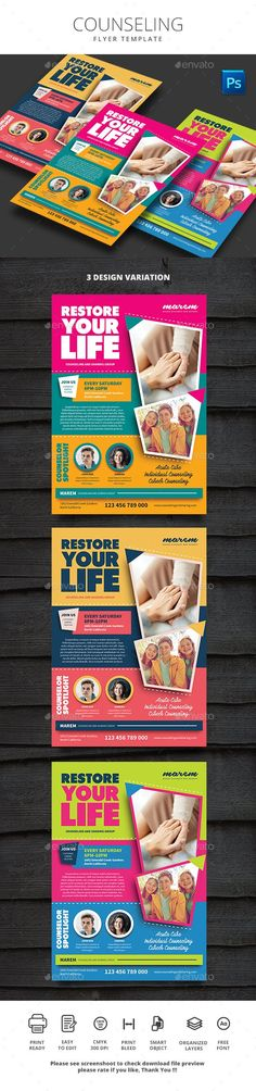Buy Counseling by monggokerso on GraphicRiver. Counseling Flyer File Features : Size + Bleed area CMYK / 300 dpi Easy to edit text Well organized PSD f. Flyer Printing, Group Counseling, Edit Text, Change Image, Corporate Flyer, Print Templates, Flyer Template, Flyer Design, Flyers