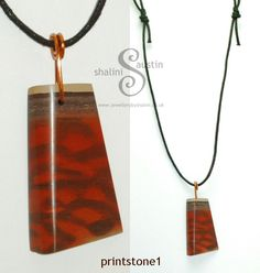 Printstone Pendant with Copper Wire Bail - Jewellery By Shalini. £18.00