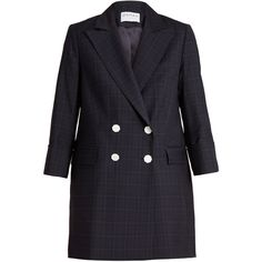 Osman Adele checked wool blazer ($953) ❤ liked on Polyvore featuring outerwear, jackets, blazers, navy, double-breasted blazer, navy wool blazer, navy blazers, 3/4 sleeve blazer and wool blazer