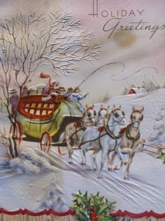 People on Stagecoach & Horses Snowy Lane Wood Vintage Christmas Card Victorian Christmas Horses, Number 12, Vintage Christmas Cards, Victorian, Wood, People, Painting, Ebay, Art