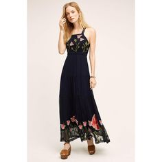 Floreat Tulipan Maxi Dress featuring polyvore, women's fashion, clothing, dresses, navy, maxi length dresses, maxi dresses, embroidery dress, navy dress and embroidery maxi dress