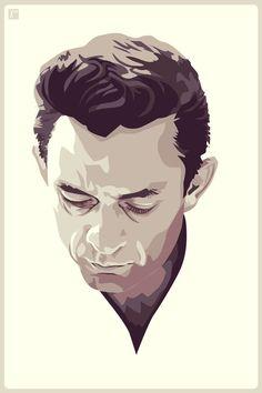 Johnny Cash Art Works (Paintings and Drawings) Vector Portrait, Digital Portrait, Portrait Art, Johnny Cash Tattoo, Johnny And June, Portrait Illustration, Caricature, Painting & Drawing, Vector Art