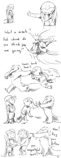 I don't know what's happening here, there's Legolas his father and what i think is an anteater(?)  but it's cute...   'Hug Your Father' by antubis0.deviantart.com on @DeviantArt