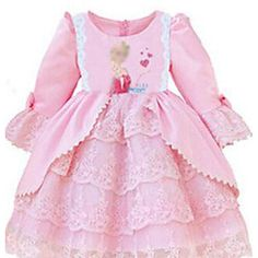 Kids fashion. Pretty baby pink long sleeve dress! Get it by clicking on the picture
