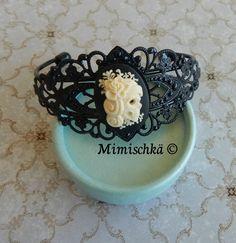 Bracelet noir catrina camée sugar skull tête de mort : Bracelet par mimischka