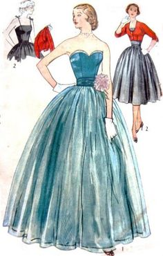 Pattern #133 SKIRT WITH STRAPLESS BODICE AND BOLERO