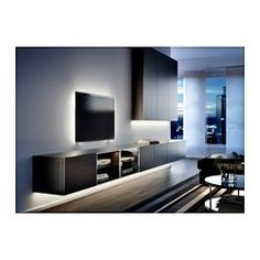 IKEA offers everything from living room furniture to mattresses and bedroom furniture so that you can design your life at home. Check out our furniture and home furnishings! Bookcase Lighting, Design Ikea, Rack Tv, Deco Luminaire, Led Light Strips, Led Strip, Living Room Tv, Tv Cabinets, Strip Lighting