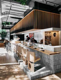 Inside Look at Ryù Restaurant in Montreal Bar at Ryù Restaurant in Montréal.Bar at Ryù Restaurant in Montréal. Sushi Bar Design, Design Bar Restaurant, Deco Restaurant, Modern Restaurant, Coffee Shop Design, Cafe Design, Layout Design, Bar Interior Design, Design Ideas