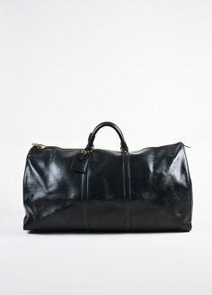 "Louis Vuitton Black Epi Leather ""Keepall 60"" Travel Duffel Bag"