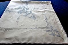 Beautiful Antique Vintage Swiss Appenzell Hand Embroidered Tablecloth