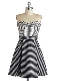Line Recitation Dress. All the worlds your stage when you head from brunch to rehearsal to drinks with your friends, all dressed in the star quality of this black-and-white-striped dress!  #modcloth