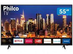 """Smart TV 4K LED 55"""" Philco PTV55F62SN Wi-Fi HDR - 3 HDMI 2 USB - Magazine Vendasonlineweb"""