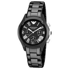 35c499a978f Emporio Armani Ceramic Black Dial Chronograph Women s Watch