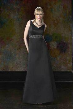 Empire V-Neck Floor Length A-Line Satin Bridesmaid Dresses