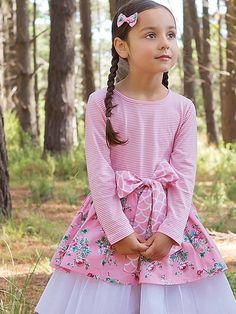 Miss Scarlet wearing Pink Painted Floral Ella Girls Party Dress, Baby Dress, Girls Dresses, Boho Outfits, Girl Outfits, Boho Flower Girl, Our Girl, Winter Dresses, Kids Wear