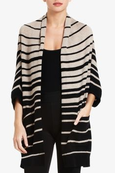 I need something striped, drapey and warm that matches everything and doesn't look like pyjamas so I can live in it from September to December