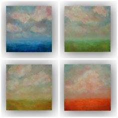 The Four Seasons- Set of four small 10x10 abstract landscape oil paintings on canvas blue green yellow orange clouds palette knife paintings