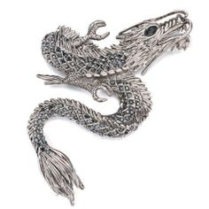 Pugster Elegant Silver Dragon Brooches And Pins Pugster. $34.79. One free elegant cushioned Gift box available with every order from Pugster.. Occasion: casual wear,anniversary, bridal, cocktail party, wedding. Exquisitely detailed designer style with Swarovski cystal element.. Money-back Satisfaction Guarantee.. Can be pinned on your gown or fastened in your hair with bobby pins.. Save 20% Off!