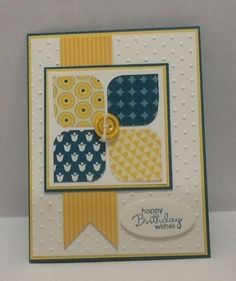 handmade card ... clean lines ... design good for paper scraps ... yellow, navy white ... like the rounded corner squares ...Stampin Up!