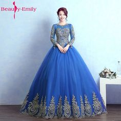 Beauty Emily Long Ball Gown Quinceanera Dresses 2017 Princess Girl Dresses Full Sleeve Lace Up Formal Party Gowns Prom Dresses