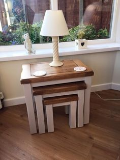 Kemble Rustic Solid Oak And Painted Nest Of 3 Tables From Oak Furniture Land