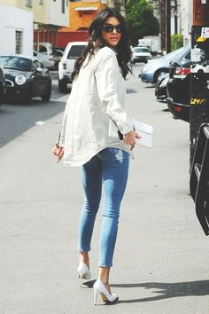 X Denim Jeans x White Top x White Heels X