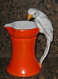 OLD ROYAL BAYREUTH RED MILK PITCHER WHITE PARROT MARKED
