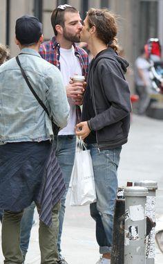 Too Cute! Zachary Quinto Kisses Boyfriend Miles McMillan in NYC:  Zachary Quinto, Miles McMillan
