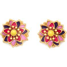 Chrysalis Gold-tone Lotus Flower Earrings (440 ZAR) ❤ liked on Polyvore featuring jewelry, earrings, flower earrings, blossom jewelry, chrysalis jewellery, wrap earrings and gold tone jewelry