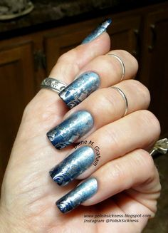 Nfu Oh 65, China Glaze Take a Trek, Darling Diva Queen of the Night, gradient, Essie No Place Like Chrome, LeaLac LLC-A stamp