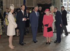 Sophie, Countess of Wessex, Prince Edward, Earl of Wessex, Prince Charles, Prince of Wales, Queen Elizabeth II, Camilla, Duchess of Cornwall and Prince Philip, Duke of Edinburgh are seen as they attend the Commonwealth day observance service at Westminster Abbey on March 10, 2014 in London, England.