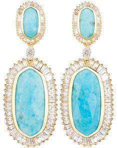 Baguette Hourglass Earrings in Turquoise Magnesite - Kendra Scott LUXE
