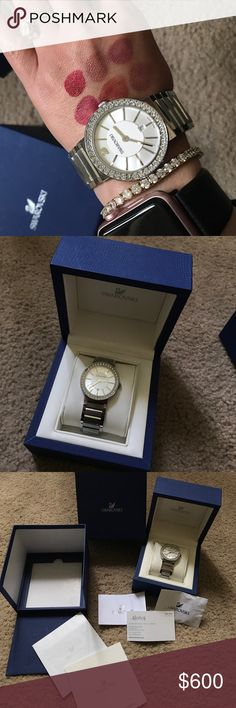 SWAROVSKI silver diamond watch Super shiny, stylish, elegant, crystal watch from SWAROVSKI No crystal missing and extra link is here too Complete with papers and authentication and with box. Swarovski Accessories Watches