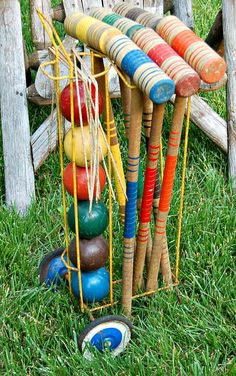 Vintage Croquet Set 1940s 50s Lawn Game by BlackEyedSusanShop