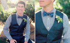 a patterned bow tie and vest