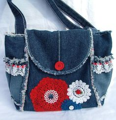 Denim and lace patchwork shoulder bag / tote by poppypatchwork, $87.00